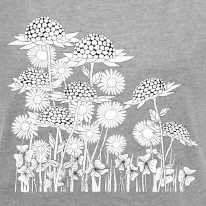 wonder flowers - Women's T-shirt with rolled up sleeves