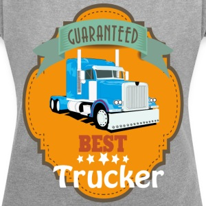 Best Trucker, Truck Mesh Design - Women's T-shirt with rolled up sleeves
