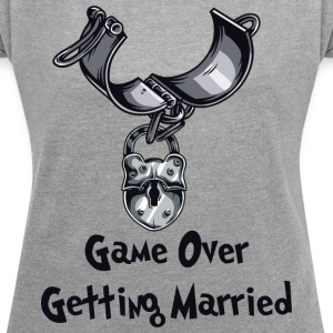 Game Over Getting Married - T-skjorte med rulleermer for kvinner
