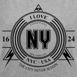 New York City Badge - T-shirt Femme à manches retroussées