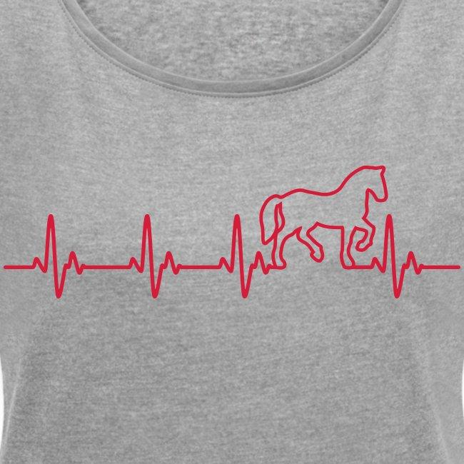 Vorschau: Horse Heartbeat - Frauen T-Shirt mit gerollten Ärmeln