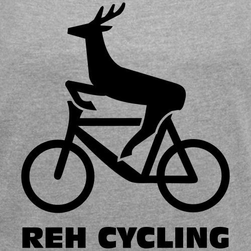 Reh cycling - Frauen T-Shirt mit gerollten Ärmeln