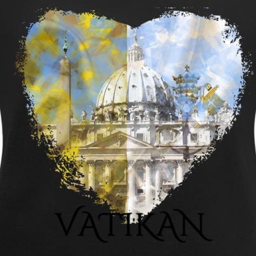 My heART beats for Vatikan - Frauen T-Shirt mit gerollten Ärmeln