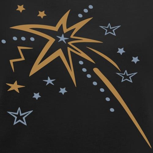 Feuerwerk mit vielen Sternen - Frauen T-Shirt mit gerollten Ärmeln