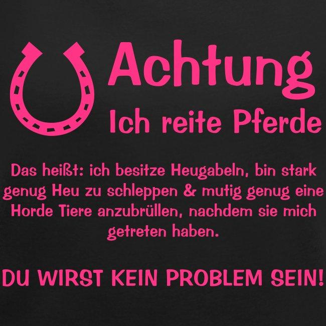 Vorschau: Achtung ich reite Pferde - Frauen T-Shirt mit gerollten Ärmeln