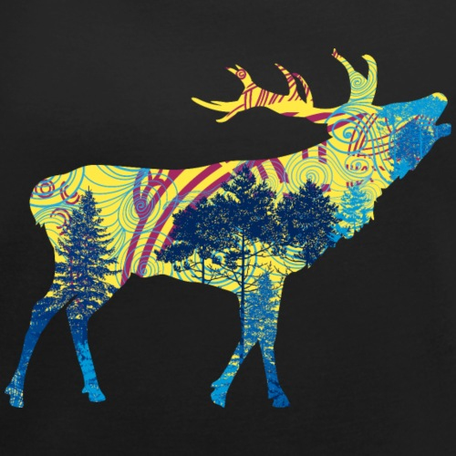 Cerf dans la forêt - T-shirt à manches retroussées Femme