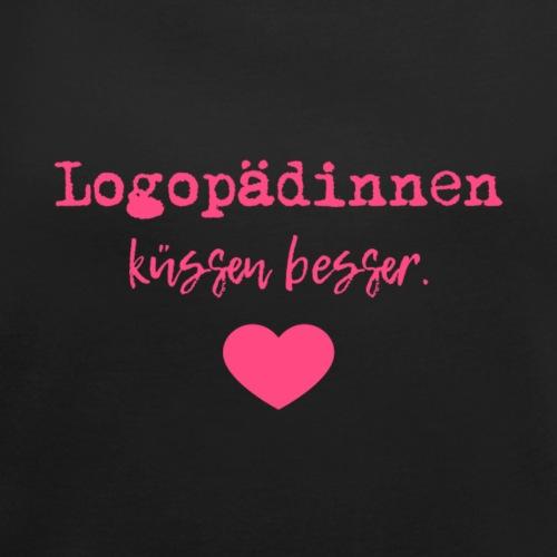 Logopädinnen küssen besser Pink Edition - Frauen T-Shirt mit gerollten Ärmeln
