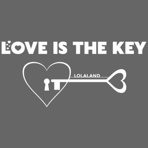 LOVE IS THE KEY - Frauen T-Shirt mit gerollten Ärmeln
