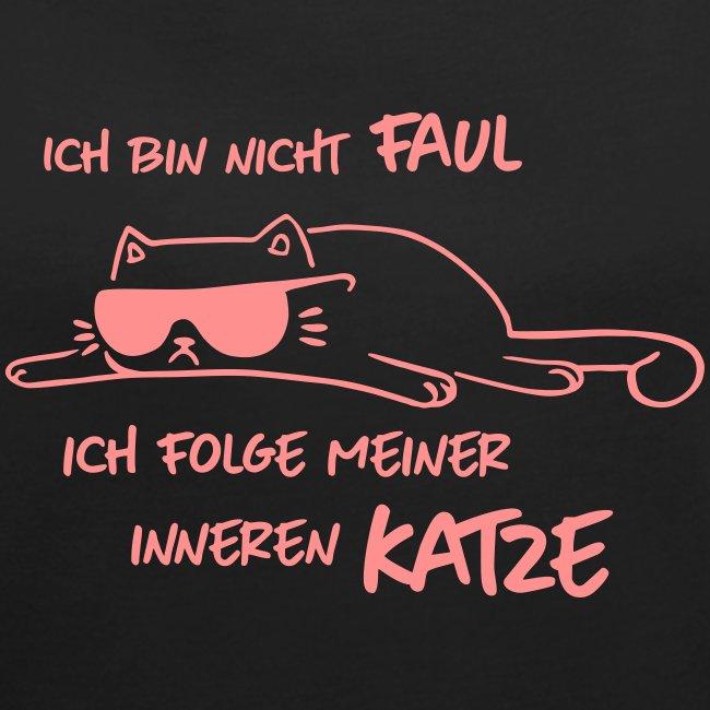 Vorschau: Faul inneren Katze - Frauen T-Shirt mit gerollten Ärmeln