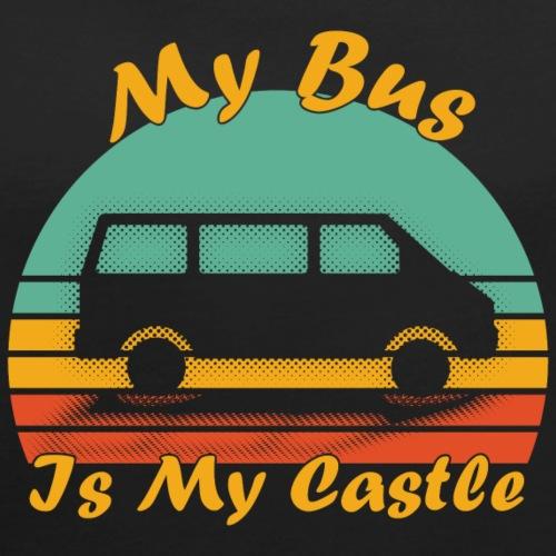My Bus Is My Castle - Frauen T-Shirt mit gerollten Ärmeln