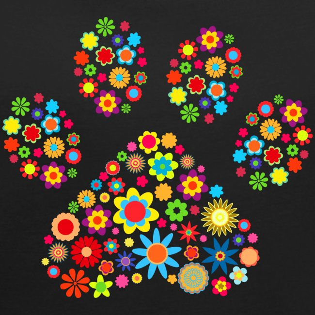 flower dog paw cat - Frauen T-Shirt mit gerollten Ärmeln