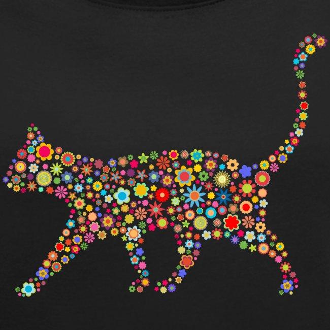 Vorschau: flower cat - Frauen T-Shirt mit gerollten Ärmeln