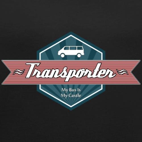 Transporter Retro (Red) - Frauen T-Shirt mit gerollten Ärmeln