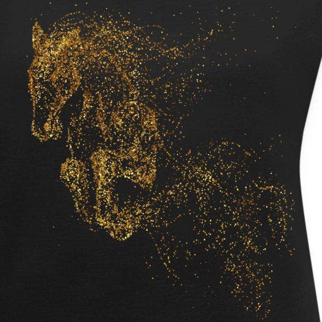 Vorschau: jumping horse gold - Frauen T-Shirt mit gerollten Ärmeln