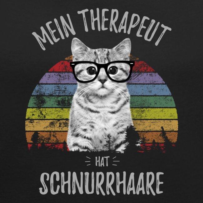 Vorschau: Therapeut Katze - Frauen T-Shirt mit gerollten Ärmeln