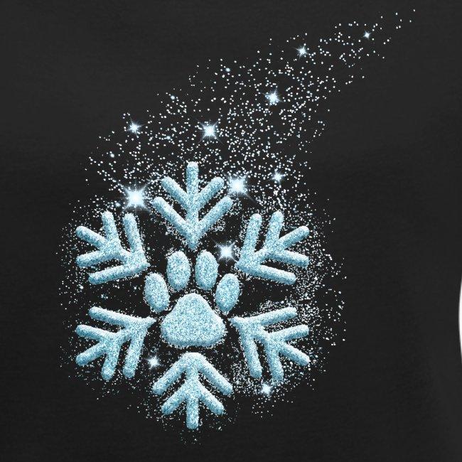 Vorschau: dog paw snowflake - Frauen T-Shirt mit gerollten Ärmeln