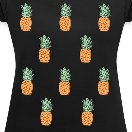 kleine Ananas 2 - Frauen T-Shirt mit gerollten Ärmeln