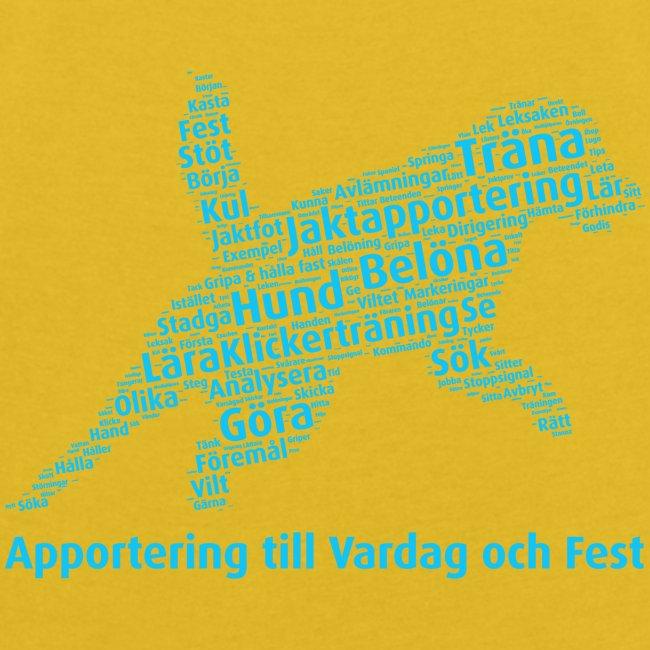 Apportering till vardag och fest wordcloud blått
