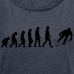 evolution hockey - Frauen T-Shirt mit gerollten Ärmeln