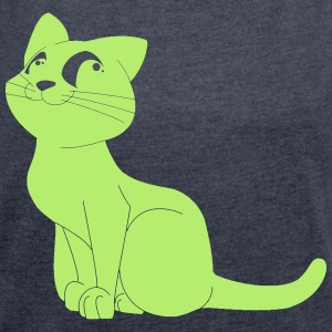 cat obediently - Women's T-shirt with rolled up sleeves