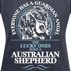 GUARDIAN ANGEL Australian Shepherd - T-skjorte med rulleermer for kvinner