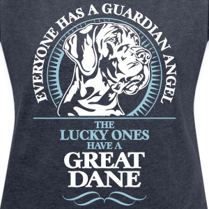 GUARDIAN ANGEL GREAT DANE - T-shirt med upprullade ärmar dam