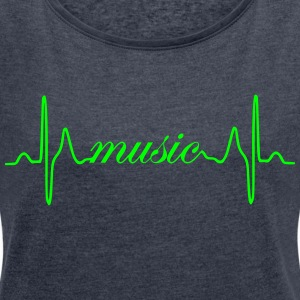 Music Heartbeat ECG - Women's T-shirt with rolled up sleeves