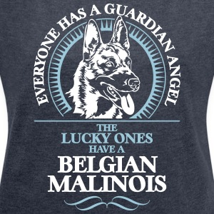 GUARDIAN ANGEL BELGIAN MALINOIS - Women's T-shirt with rolled up sleeves