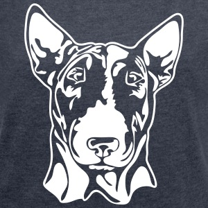 BULL TERRIER PORTRAIT - Women's T-shirt with rolled up sleeves