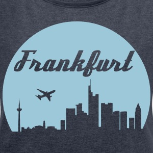 Frankfurt skyline - Women's T-shirt with rolled up sleeves