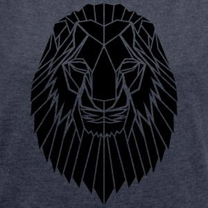 Edgy Geometric safari Lion Print by Stencilize - Women's T-shirt with rolled up sleeves