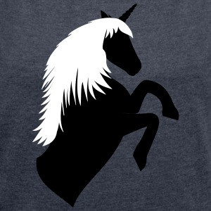 Unicorn outline Black / White - Women's T-shirt with rolled up sleeves