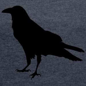 Black Crow - Women's T-shirt with rolled up sleeves