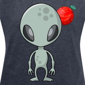 Friendly Alien - Women's T-shirt with rolled up sleeves