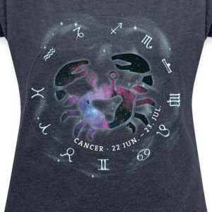 cancer Cancer Horoscope June birthday icon - Women's T-shirt with rolled up sleeves