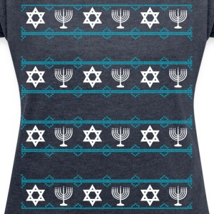 jewish hanukkah Chrisnukkah light Chandelier rating m - Women's T-shirt with rolled up sleeves