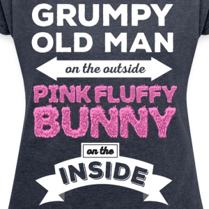 Grumpy Pink Fluffy Bunny - Women's T-shirt with rolled up sleeves