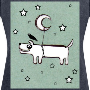 Dog, Bird & Moon - T-shirt med upprullade ärmar dam