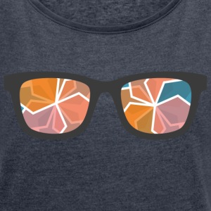 color glasses - Women's T-shirt with rolled up sleeves