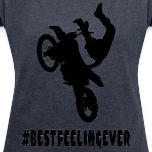 BEST_FELLING - Women's T-shirt with rolled up sleeves