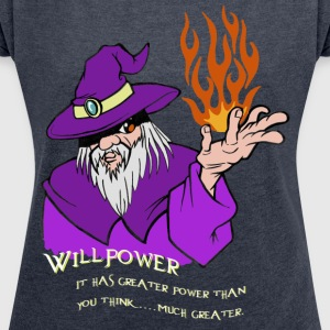 Viljestyrke Wizard Purple / Rød / Orange Flame - T-skjorte med rulleermer for kvinner