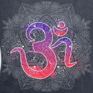 Om with Mandala - Women's T-shirt with rolled up sleeves