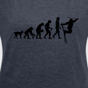 Evolution skiing - Women's T-shirt with rolled up sleeves