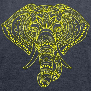 ELEPHANT HEAD yellow - Women's T-shirt with rolled up sleeves