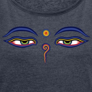 Buddha Eyes - Women's T-shirt with rolled up sleeves