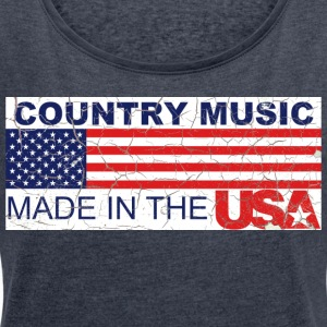 "Shirt ""Country USA"" - T-skjorte med rulleermer for kvinner"