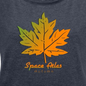 Space Atlas T-shirt Autumn Leaves - Women's T-shirt with rolled up sleeves