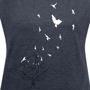 birds_baum_white / Free as a bird - Women's T-shirt with rolled up sleeves