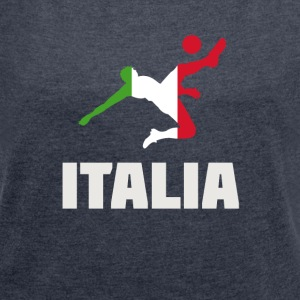 italia soccer Italy flag soccer goal ball spor - Women's T-shirt with rolled up sleeves