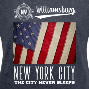 New York · Williamsburg - T-skjorte med rulleermer for kvinner